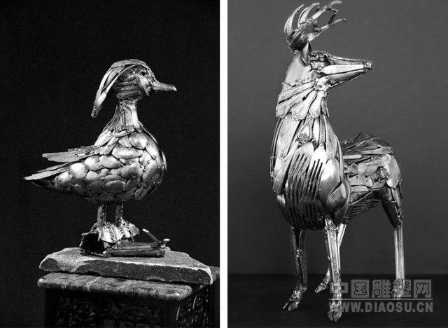 美国雕塑家用餐具制成神奇的动物雕塑